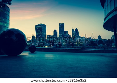London downtown skyline at twilight, vintage effect photo - stock photo