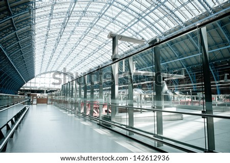 LONDON, ENGLAND - APRIL 30: Eurostar terminal at Kings Cross St. Pancras station, recently reconstructed to accept bullet trains from the Continent, London, UK, April 30, 2013 - stock photo