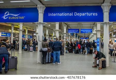 LONDON,ENGLAND - APRIL 18, 2016: St Pancras Station international train station in London, this station is the main for Eurostar train to the European countries. - stock photo