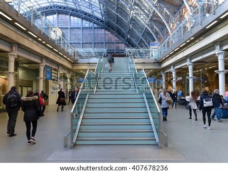 LONDON,ENGLAND - APRIL 18,, 2016: St Pancras Station international train station in London, this station is the main for Eurostar train to the European countries. - stock photo