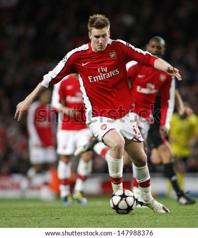 LONDON, ENGLAND. 31/03/2010. Arsenal player Nicklas Bendtner in action during the  UEFA Champions League quarter-final between Arsenal and Barcelona at the Emirates Stadium - stock photo