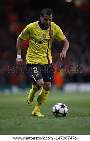 LONDON, ENGLAND. 31/03/2010.Barcelona player Dani Alves in action during the  UEFA Champions League quarter-final between Arsenal and Barcelona at the Emirates Stadium - stock photo