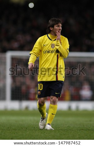 LONDON, ENGLAND. 31/03/2010. Barcelona player Lionel Messi in action during the  UEFA Champions League quarter-final between Arsenal and Barcelona at the Emirates Stadium - stock photo