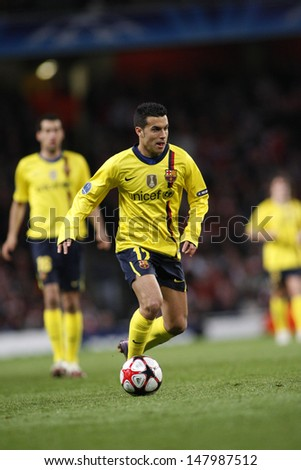 LONDON, ENGLAND. 31/03/2010. Barcelona player Pedro Rodreguez in action during the  UEFA Champions League quarter-final between Arsenal and Barcelona at the Emirates Stadium - stock photo