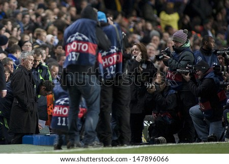 LONDON ENGLAND 23-11-2010. Chelsea's manager Carlo Ancelotti surrounded by photographers before the UEFA Champions League group stage match between Chelsea FC and MSK Zilina  - stock photo
