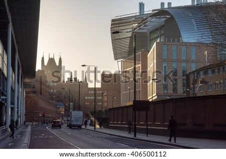 London, England - 9 December 2015: Sunrise at St Pancras on the new Francis Crick Institute, a £660 million multidisciplinary medical research institute due to open this year. - stock photo