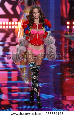 LONDON, ENGLAND - DECEMBER 02: Victoria's Secret model Barbara Fialho walks the runway during the 2014 Victoria's Secret Fashion Show on December 2, 2014 in London, England.