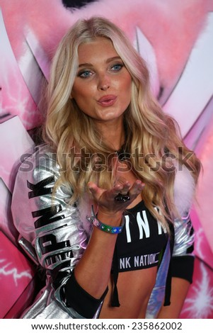 LONDON, ENGLAND - DECEMBER 02: Victoria's Secret model Elsa Hosk walks the runway during the 2014 Victoria's Secret Fashion Show on December 2, 2014 in London, England. - stock photo