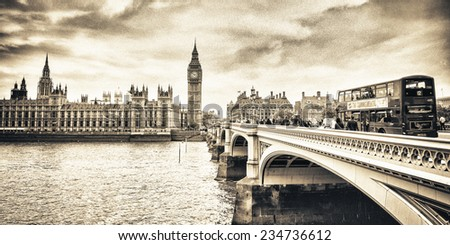 London, England. Double Decker bus crossing Westminster Bridge. - stock photo