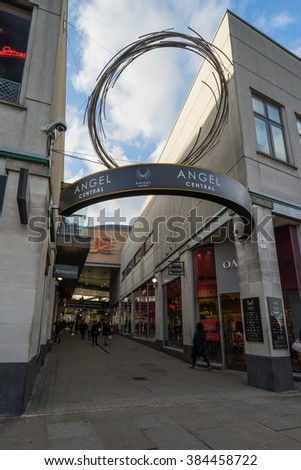 LONDON, ENGLAND - FEB 29, 2016. Entrance to Angel Central shopping center in London Islington.