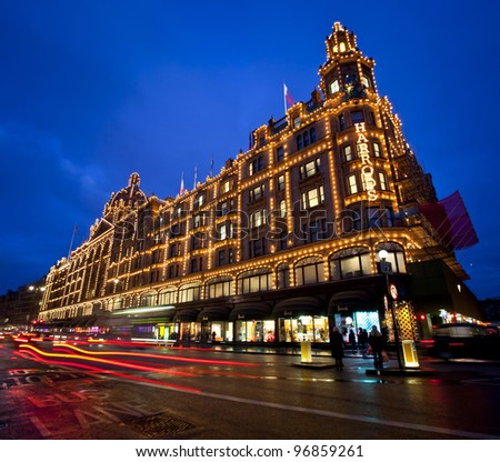 LONDON, ENGLAND FEB 13: Famous Harrods of London department store on Feb 13, 2012 in London, United Kingdom. - stock photo