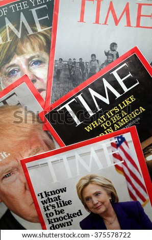 London, England - February 11, 2016: Display of Time Magazine covers with images of Hilary Clinton, Donald Trump, Angela Merkel and other images of current affairs in the news