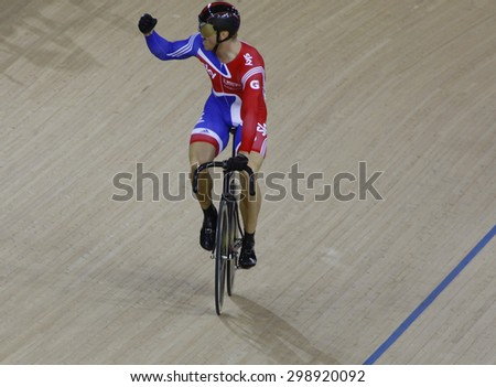 LONDON, ENGLAND. FEBRUARY 19 2012: Sir Chris Hoy (GBR) during the final of the mens sprint, at the UCI Track Cycling World Cup at the London Olympic Velodrome, Queen Elizabeth 2nd Park - stock photo