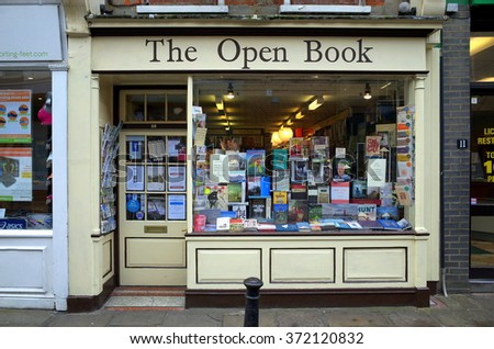 London, England - February 04, 2016: The Open Book in Richmond, London is an independent bookseller. As of 2015 it is estimated there are less than a thousand independent bookshops left in the UK - stock photo