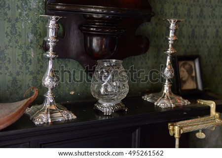 LONDON, ENGLAND - JUL 22, 2016: Interior of the Sherlock Holmes Museum, 221 Baker Street, London. Sherlock Holmes  is a fictional private detective created by Sir Arthur Conan Doyle