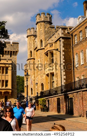 LONDON, ENGLAND - JUL 20, 2016: Tower of London (Her Majesty's Royal Palace and Fortress of the Tower of London), England. UNESCO World Heritage