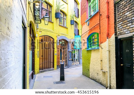 LONDON, ENGLAND - JULY 16,2016.  A view of colourful buildings in Neals Yard during the day.