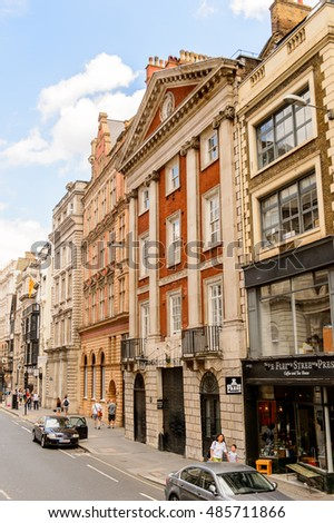 LONDON, ENGLAND - JULY 24, 2016: Architecture of London, England. London is the capital and the most populous city in England
