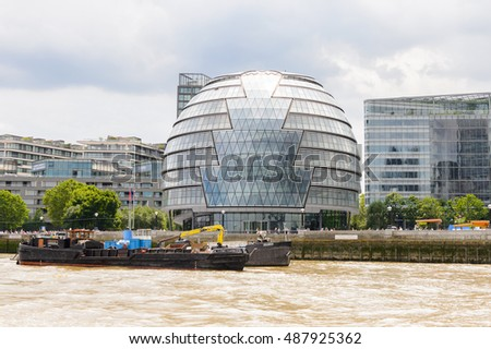 LONDON, ENGLAND - JULY 22, 2016: Business district  in London, the capital of Great Britain