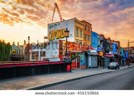 LONDON, ENGLAND - JULY 20, 2016.  2016.Camden Town famous tourist attraction. The Market attracts thousands of visitors each weekend. - stock photo