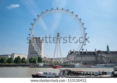 LONDON, ENGLAND - JULY 19:London Eye on the River Thames, London, England on July 19, 2013. The giant ferris wheel constructed for 2000, major feature and landmark continuously turns carrying tourists - stock photo