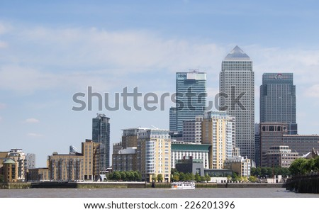 LONDON, ENGLAND - JULY 15: London's financial district on July 15, 2014 in London, England - stock photo