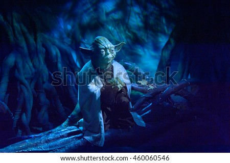 LONDON, ENGLAND - JULY 22, 2016: Master Yoda at the Star Wars area, Madame Tussauds wax museum. It is a major tourist attraction in London