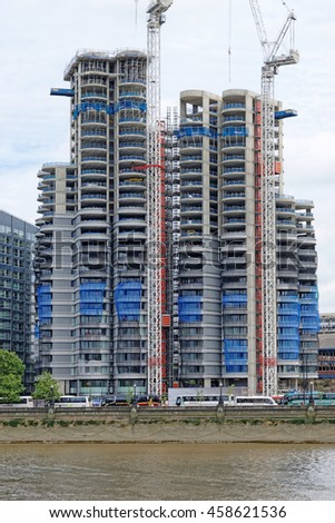 LONDON, ENGLAND - JULY 8, 2016: Modern building at the St George Wharf quarter in Vauxhall, London. - stock photo