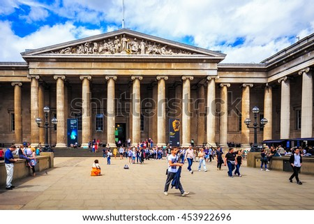 LONDON, ENGLAND - JULY 03,2016. The British Museum entrance . The British Museum was established in 1753, and features a collection of over thirteen million objects. - stock photo
