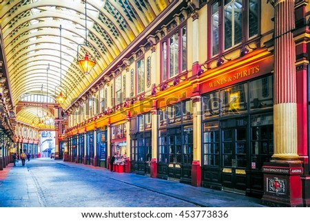 LONDON, ENGLAND - JULY 16, 2016. The famous Leadenhall market which dates back to the 14th Century in London, United Kingdom. - stock photo