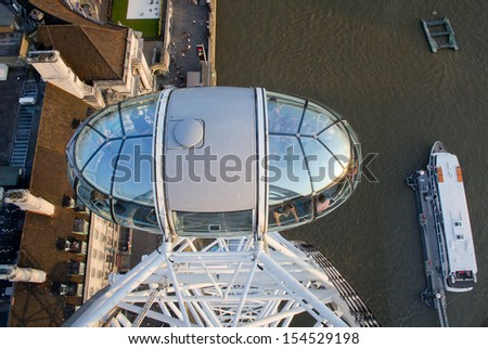 LONDON, ENGLAND - JULY 9: The London Eye, which receives over 3.5 million visitors a year on July 9, 2013 in London, England