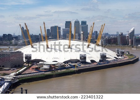 LONDON, ENGLAND - JULY 15: The O2 Arena, formerly known as the Millennium Dome on July 15, 2014 in London, England