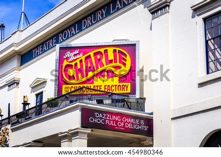 LONDON, ENGLAND - JULY 03, 2016. Theatre Royal, Drury Lane, Performing arts theatre Lavish Georgian theatre that favours crowd-pulling mainstream musicals.