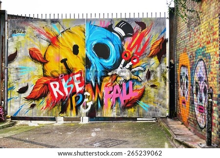 LONDON, ENGLAND -12 MARCH 2015- Editorial: Painted walls and graffiti art are scattered in the Brick Lane and Shoreditch area in East London in the heart of Banglatown.