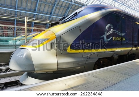 LONDON, ENGLAND -11 MARCH 2015- Editorial: The Eurostar high-speed bullet train, which connects Paris Gare du Nord to London St. Pancras station, celebrated its 20th anniversary in November 2014.  - stock photo