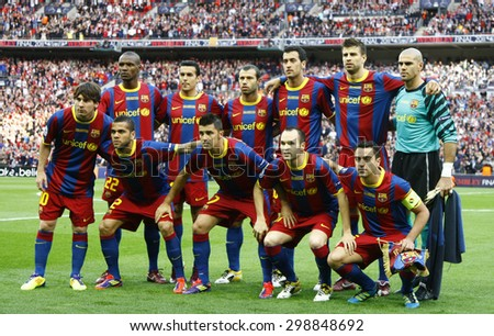 LONDON, ENGLAND. May 28 2011: Barcelona team before the 2011UEFA Champions League final between Manchester United and FC Barcelona, at Wembley Stadium - stock photo