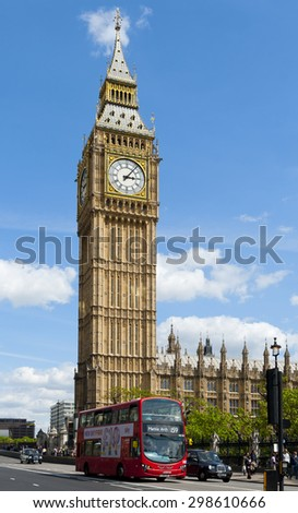 LONDON, ENGLAND - MAY 30: Big Ben, the Elizabeth Tower at the north end of the Palace of Westminster on May 30, 2015 in London - stock photo