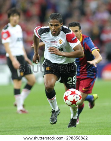 LONDON, ENGLAND. May 28 2011: Manchester's midfielder Antonio Valencia during the 2011UEFA Champions League final between Manchester United and FC Barcelona, at Wembley Stadium - stock photo