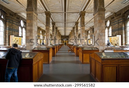 LONDON, ENGLAND - MAY 30: Mineral Gallery at The Natural History Museum on May 30, 2015 in London - stock photo