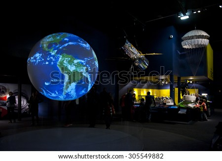 LONDON, ENGLAND - MAY 31: The Earth video display in Science Museum in London on May 31, 2015 in London - stock photo