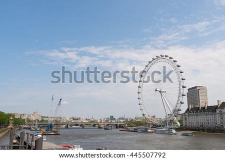 London, England - May 27, 2016: View of the Thames river in central London, UK