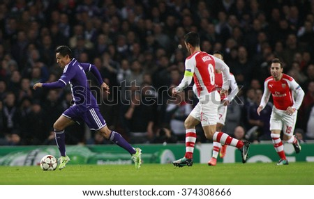 LONDON, ENGLAND - NOV 04 2014:   during the UEFA Champions League match between Arsenal from England and Anderlecht from Belgium played at The Emirates Stadium. - stock photo