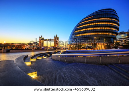 LONDON, ENGLAND - NOVEMBER 01,2015. City Hall and Tower Bridge London. - stock photo