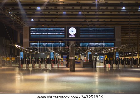LONDON, ENGLAND - NOVEMBER 7, 2014 Information display board on train and metro in London St. Pancras station - stock photo