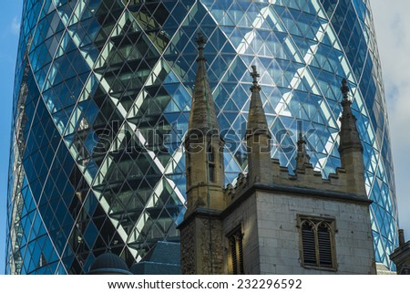 London, England - November 4th 2104 - Details of The Gherkin Building, St MAry Axe in Central London - stock photo