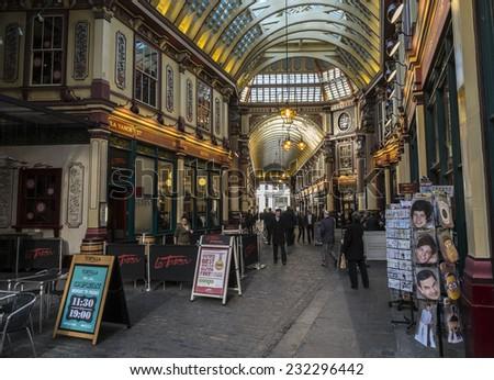 London, England - November 4th 2104 - Leadenhall Market in the City of London - stock photo