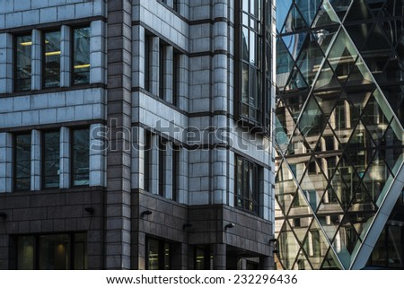 London, England - November 4th 2104 - Modern London Architecture in The City district - stock photo