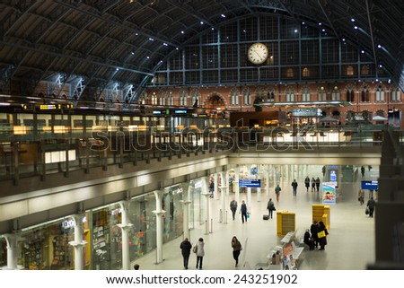 LONDON, ENGLAND - NOVEMBER 7, 2014  View from balcony over metro and international train station in London St Pancras - stock photo