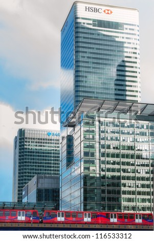 LONDON, ENGLAND - OCT 12: HSBC UK HQ on October 12th, 2012 in London, England. HSBC's World Head Quarters based in Canary Wharf  is the world's third-largest bank and sixth-largest public company. - stock photo
