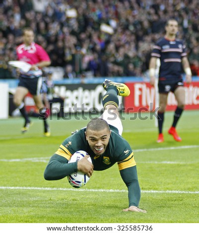LONDON, ENGLAND - OCTOBER 07 2015: The 2015 Rugby World Cup Pool B match between South Africa and USA at The Olympic Stadium on October 7, 2015 in London, United Kingdom  - stock photo